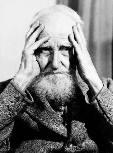 George Bernard Shaw Contemplating Writing In The Traditional Manner